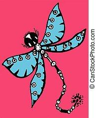 stilizzato, libellula