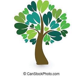 stilizzato, logotipo, albero, scheda identità