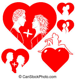 stilizzato, love., cuori