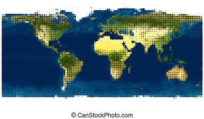 stilizzato, mondo, vettore, map., illustrazione