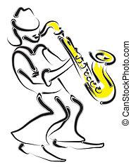 stilizzato, musicista, sassofono, vettore