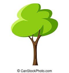 stilizzato, o, estate, albero verde, primavera, leaves.