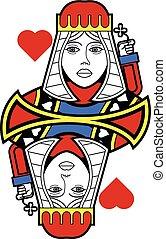 stilizzato, regina cuori, no, scheda