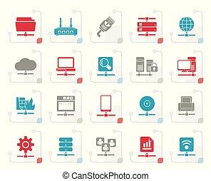 stilizzato, rete computer, e, icone internet