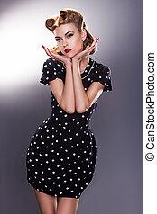 stilizzato, retro, donna, in, blu, puntino polka, vestire, -, vendemmia, stile