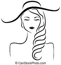 stilizzato, ritratto, astratto, cappello, ragazza