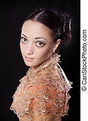 stilizzato, ritratto, di, bello, brunetta, donna, in, storico, costume, in, romanticismo, style., chiave bassa