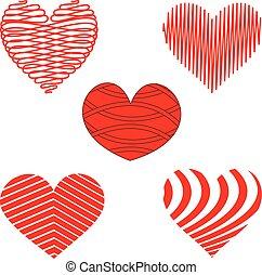 stilizzato, rosso bianco, cuore, modelli