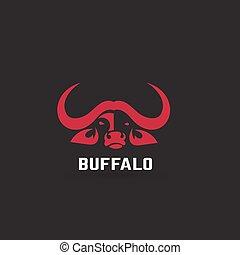 stilizzato, silhouette, illustration., animali, creativo, idea., vettore, disegno, artistico, buffalo., logotipo, template.