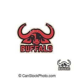 stilizzato, silhouette, logotype., animali, idea, creativo, idea., vettore, disegno, artistico, buffalo., logotipo, template.