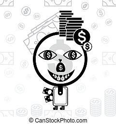 stilizzato, soldi, icon., uomo