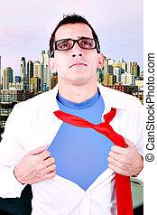 stilizzato, superhero, uomo affari