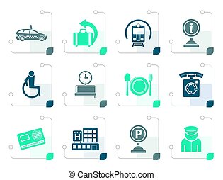 stilizzato, viaggiare, aeroporto, trasporto, icone