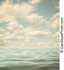 still calm sea or ocean water surface aged photo background