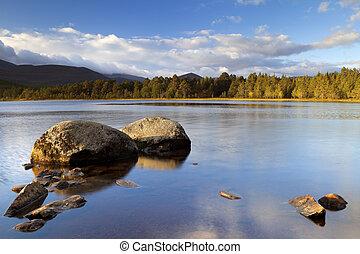 Still lake in early morning light, Loch Morlich, Cairngorms,...