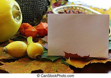 Still leaves fall pumpkin