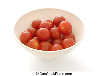 Still Life-17-0009 - Bowl of cherry tomatoes on a white ...