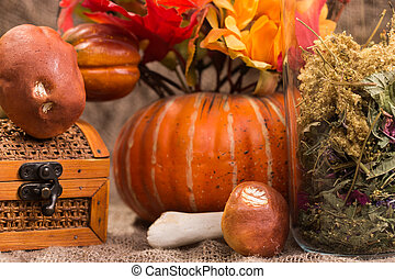 still life autumn harvest, pumpkins and mushrooms