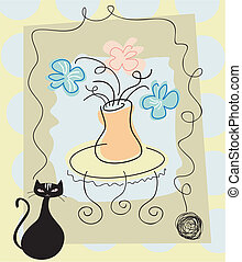 Still life background with flowers and cat