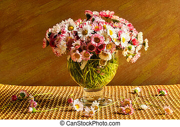 Still life bouquet daisies table
