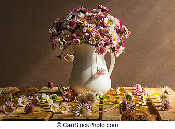 Still life bouquet daisies wooden table