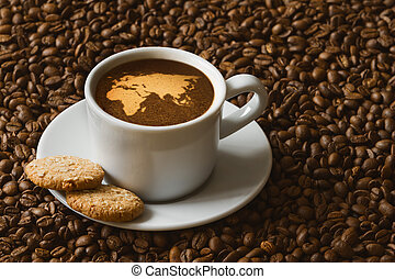 Still life - coffee with map of Afro-Eur Asia - Still life ...