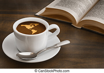 Still life - coffee with map of America continent