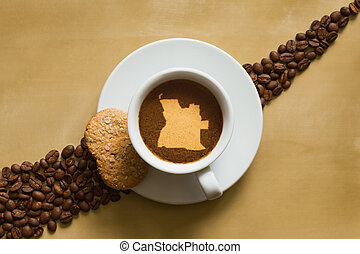 Still life photography of hot coffee beverage with map of Angola