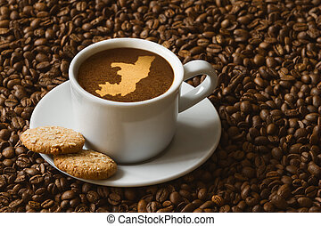 Still life - coffee with map of Republic of the Congo -...