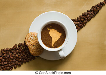 Still life - coffee with map of South America continent