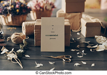 Still life composition with card