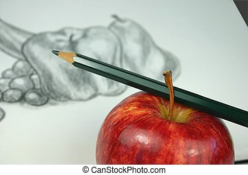 Still Life Drawing - Apple and pencil in foreground with ...