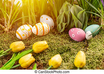 Easter greeting card composition