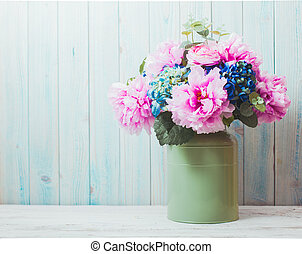 Still life - flowers in can - rustic style, shabby chic