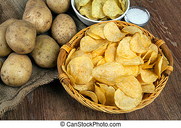still life from a basket with potato chips and raw potatoes ...