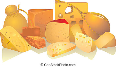 Still life from cheese of different sorts