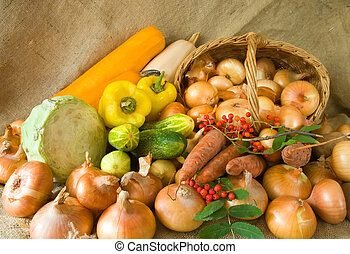 onion in basket and vegetables