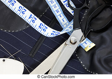 Still life hand stitched suit lining. - Still life photo of...