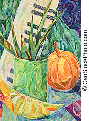 Still life in watercolor and pastel painting