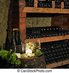 still life in wine cellar