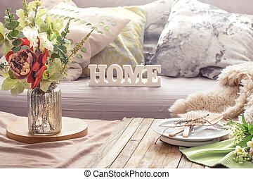 Still life interior with decor items in home living room