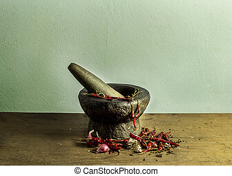 Still life mortar and dry chili on wooden table background