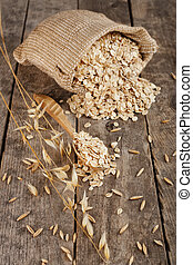 oat flakes in sack