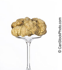 Still life of a truffle on a white background