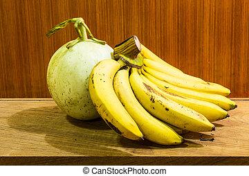 Still Life of Banana And Cantaloupe