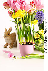 Still life of colorful spring flowers for Easter