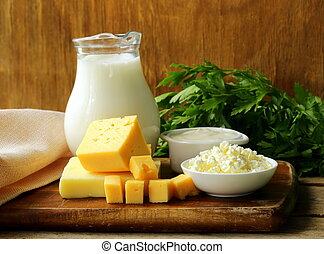 still life of dairy products (milk, sour cream, cottage...