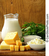 still life of dairy products (milk, sour cream, cheese,...