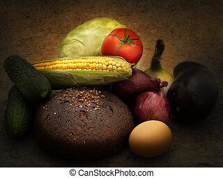 still life of different vegetables in dark tones