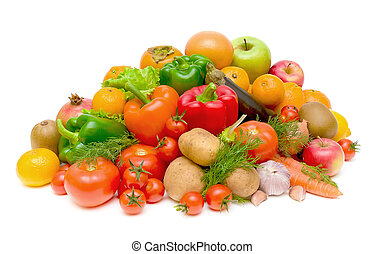 still life of fresh fruits and vegetables